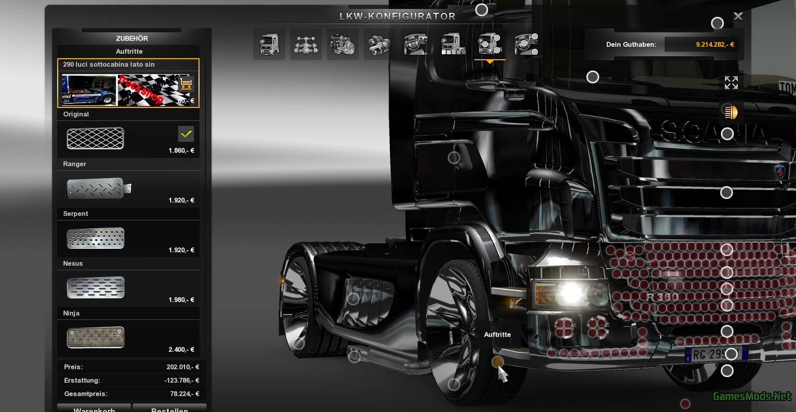 scania extrem tuning shop version v2 0. Black Bedroom Furniture Sets. Home Design Ideas