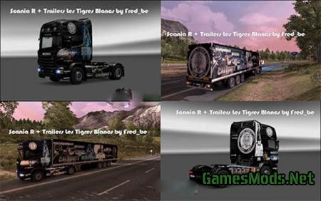 Scania R + Trailers Tigres Blancs