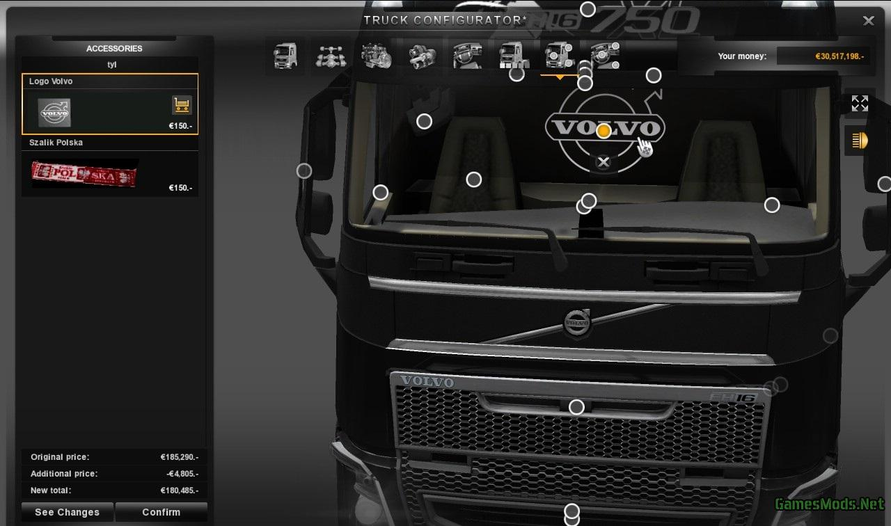 Volvo Truck Parts >> New Volvo FH Mega Tuning + Interior Addons » GamesMods.net - FS19, FS17, ETS 2 mods