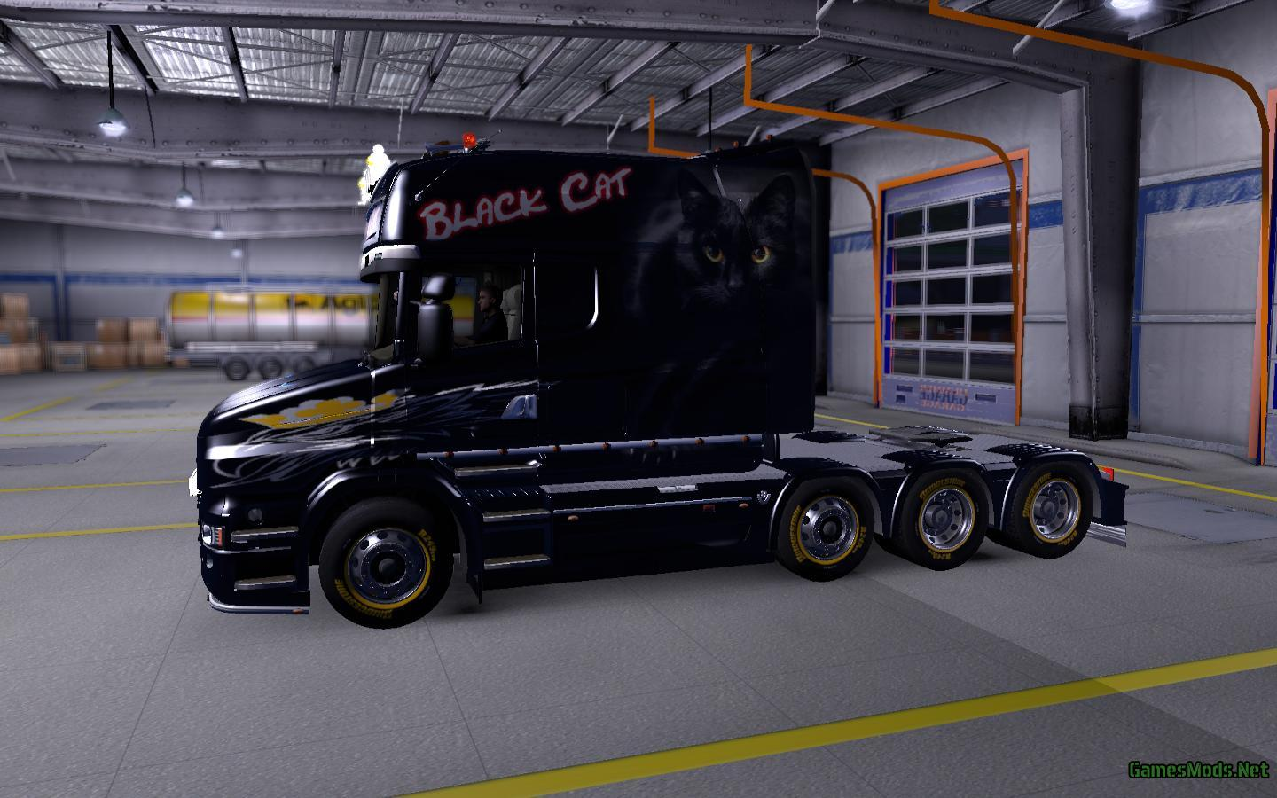 scania t longline black cat fs17. Black Bedroom Furniture Sets. Home Design Ideas