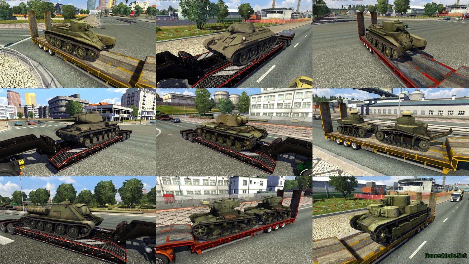 TRAILERS WITH TANKS FROM WOT: RUSSIAN PACK V1 0 » GamesMods net