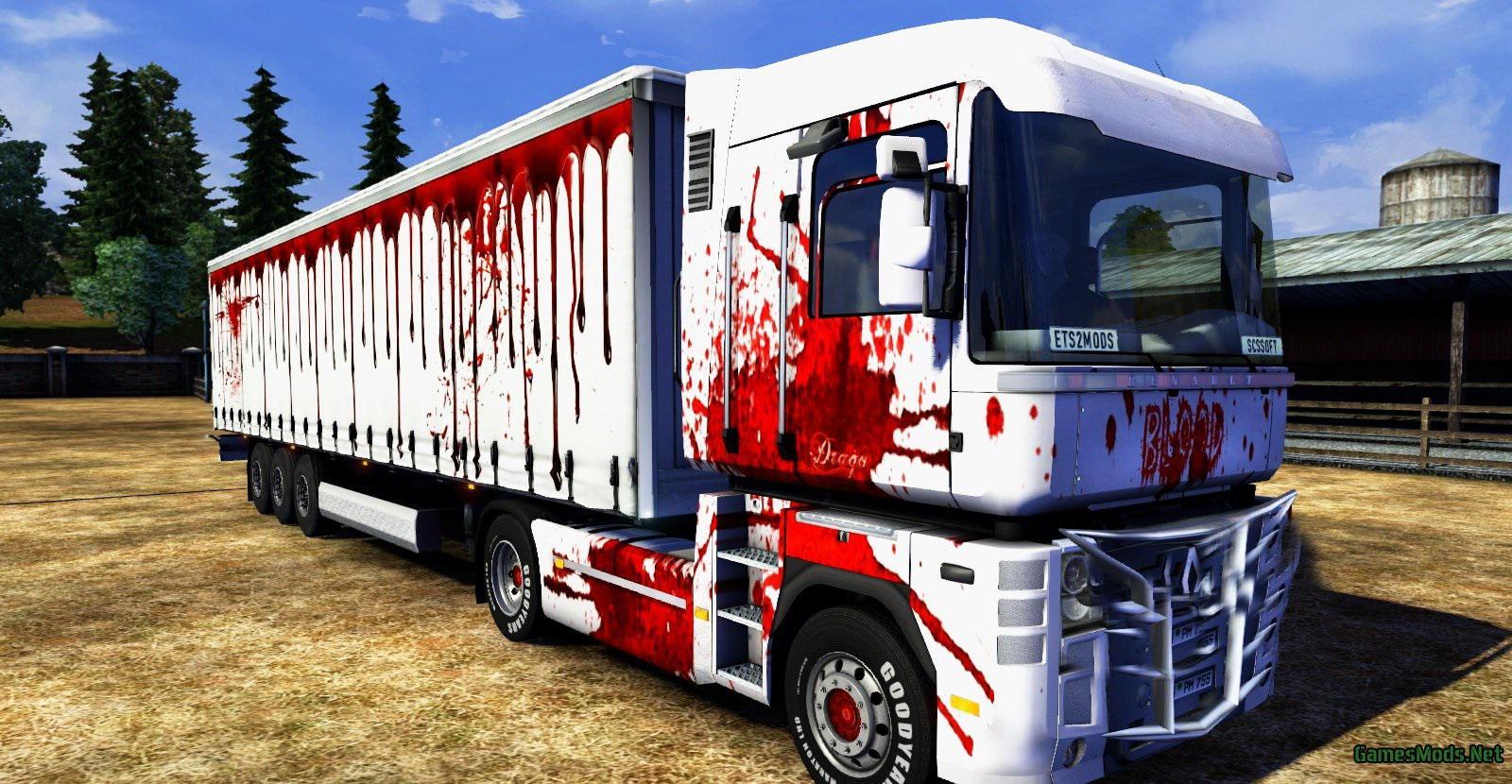 Renault Magnum Blood Skin + Trailer v1 0 » GamesMods net