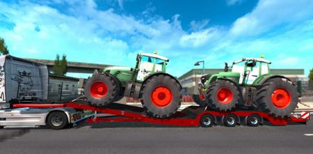 Trailer with 2 Tractors fixed