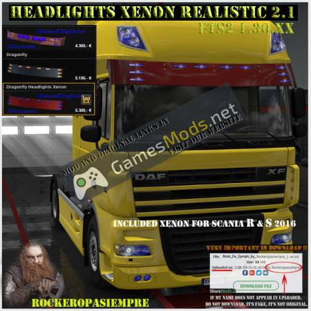 Headlights Xenon Realistic and Visors 2.1