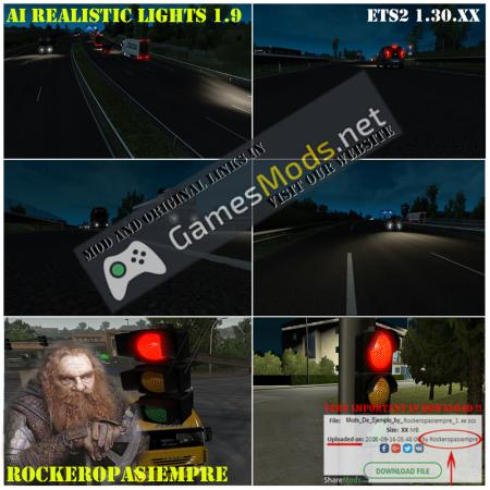 AI Realistic lights V 1.9 for ETS2 1.30.XX