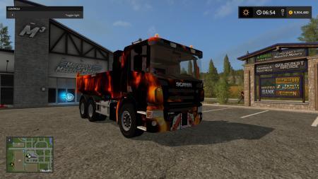 SCANIA P420 BENNE REMORQUE FIRE V1.0