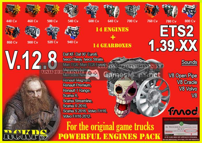 Pack Powerful engines + gearboxes V.12.8 for 1.39.XX